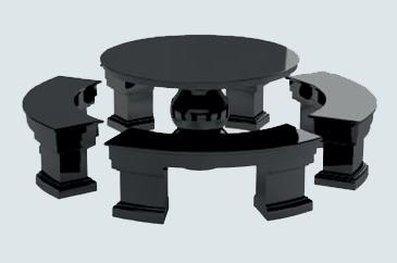 Гранитный стол и лавка tab-60